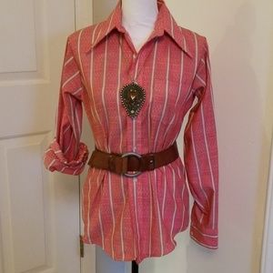 Vintage western button down rose red arrow print M
